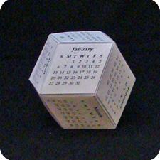 Rhombic origami calendar