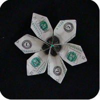 Money twist tie modular flower make origami money origami flower mightylinksfo