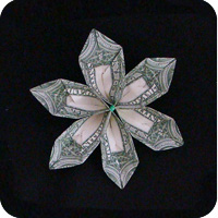 Money Twist Tie Modular Flower